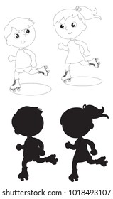 Boy and girl skating coloring and black silhouettes illustration vector