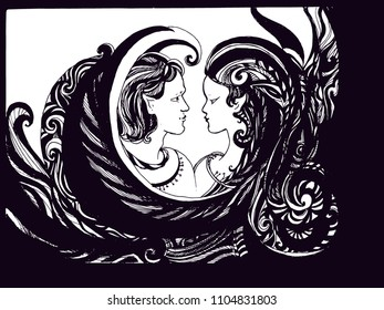Boy and girl, sketch for your design. Hand drawn cartoon doodle vector illustration.