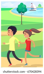 Boy and girl in sportswear jog at a park along a wide path surrounded by a green neat lawn near a pond with a white yacht vector illustration.