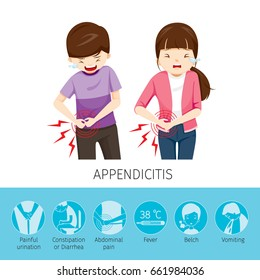 Boy And Girl Stomachache Because To Appendicitis, Appendix, Internal Organs, Body, Physical, Sickness, Anatomy, Health