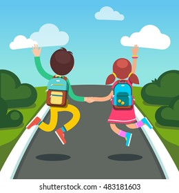 Boy and girl students with backpacks holding hands jumping on a way to school. Road scenery. Flat style modern vector illustration isolated on white background.