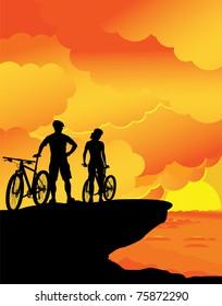 A boy and a girl â?? sunset landscape.