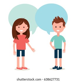Boy and Girl Talking to Each Other. Conversation and Sharing Ideas Vector Illustration.