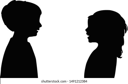 a boy and girl talking, silhouette vector