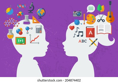 Boy and girl and their favorite subject. Vector illustration. Back to school concept. Sciences and arts. Analytical and creative mind.