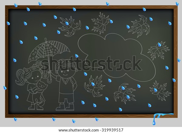Boy and girl under an umbrella on the background of the school board and raindrops