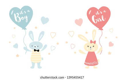 It's a boy it's a girl Vector greeting card. Baby shower card. Baby announcement card design element rabbit balloon Baby shower party design element Bunny rabbit baloon Illustration isolated on white.