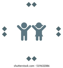 Boy and Girl vector icon. Children sign. Happy family symbol.