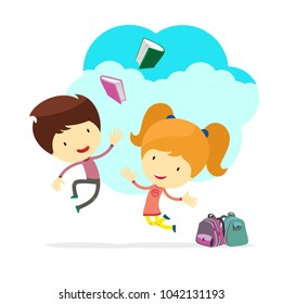 boy and girl vector illustration school books child jumping