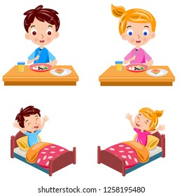 boy and girl wake up and breakfast vector