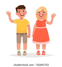 Boy and girl are waving hands. Vector illustration in cartoon style