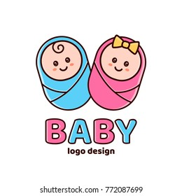 Boy and girl.Baby shower,Newborn logo design template. Vector flat cartoon outline illustration icon design. Isolated on white background. Newborn,baby,new childre,kid concept