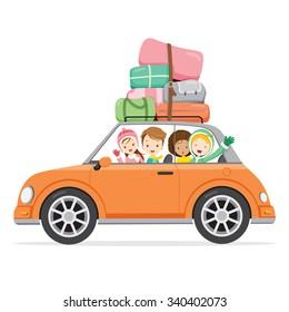Boy And Girls Driving Car To Travel, Activity, Winter, Season, Vacation