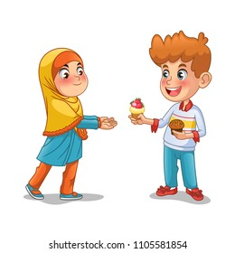 Boy give the cupcake to the muslim girl cartoon character design vector illustration, isolated against white background.