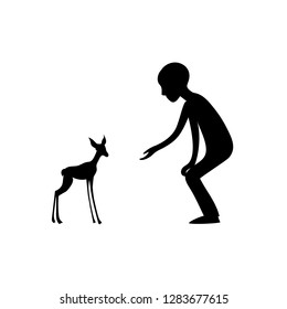 Boy give hand to fawn. Vector silhouette image.