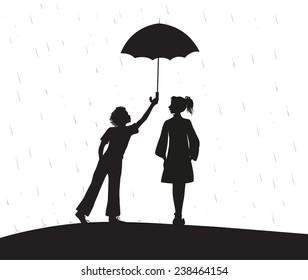 boy gives umbrella, shadows, date under the rain, first love