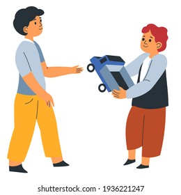 Boy giving elder brother car toy to play, generous child sharing plaything with kiddo. Isolated children in kindergarten or school, playground interaction and relationship with friend. Vector in flat