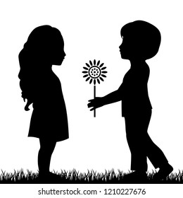 boy giving flower to girl