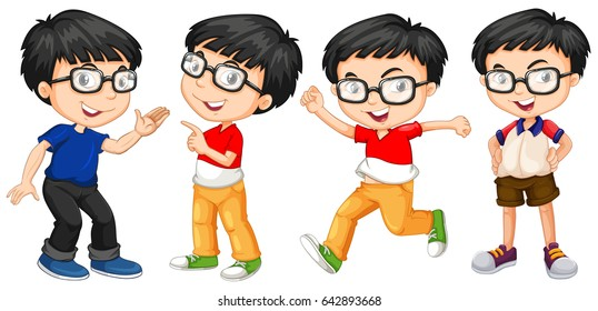 Boy in glasses in four actions illustration