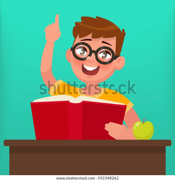 Boy with glasses reading a book. Education. Vector illustration in a flat style