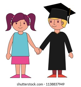 boy graduted with girl avatars characters