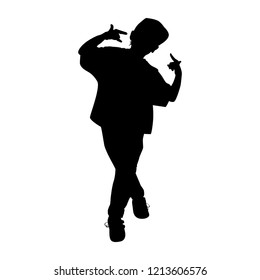 boy gymnast silhouette on white background vector