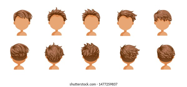 Boy hair blown set. Wide view The hair is blown away. Front, rear, left, right. Beautiful hairstyle brown shot hair of male.  trendy haircut. vector icon set isolated on white background.