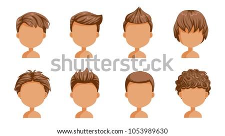 Boy Hair Set Face Little Boy Stock Vector Royalty Free 1053989630