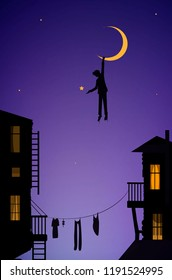 boy hanging the moon, dreamer in the city,  fairytale scene in the city vector