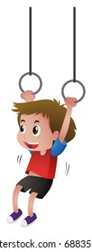 Boy hanging on the rings illustration