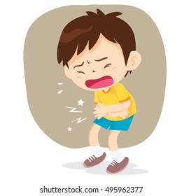 Boy having stomach ache, cartoon style vector illustration isolated on white background. Little child pressing hands to his abdomen