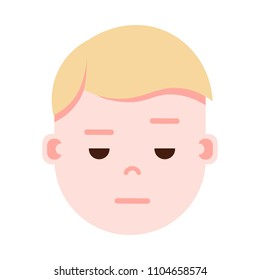 boy head emoji with facial emotions, avatar character, man sorrowful face with different male emotions concept. flat design.