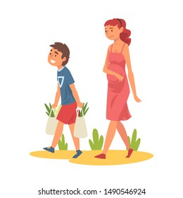 Boy Helping Pregnant Woman Carry Shopping Bags with Groceries Polite Boy, Good Manners Vector Illustration