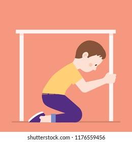 boy hiding under table because of earthquake, boy feel afraid and hiding under table, flat illustration vector