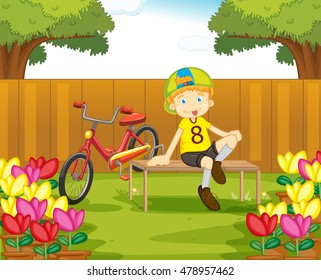 Boy and his bike in the garden illustration