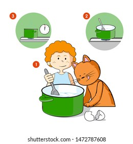 Boy with his cat cooking in the kitchen. Stir food with the spoon. Isolated vector illustration.
