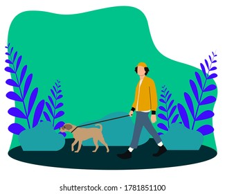 A Boy and his dog walking in the park while pets.