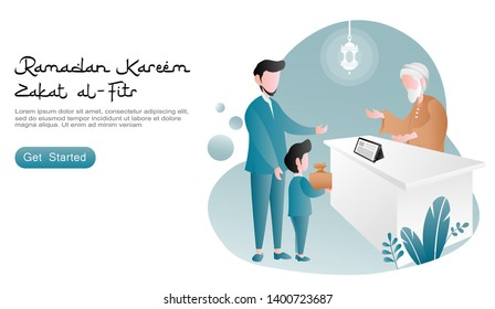 Boy and his father gave zakat at the office. oldman as zakat officers. With table, smarthphone, tablet, lantern, set of plants. flat cartoon vector illustration ramadan kareem. landing page, website