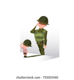 Boy with his shadow as soldier. Future Career Dreaming conept, Small kid wants to be a soldier in the future - vector illustration