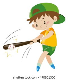 Boy hitting ball with wooden bat illustration