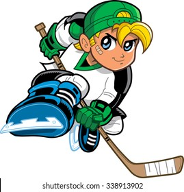 Boy Hockey Player. Anime and manga style blonde boy ice hockey player, with mischievous smile and determined look on his face, skating and holding hockey stick.