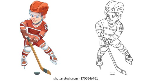 Boy hockey player. Coloring page and colorful clipart character. Cartoon design for t shirt print, icon, logo, label, patch or sticker. Vector illustration.