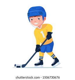 Boy hockey player in sports uniform getting ready to hit the puck with a stick. Small child plays professional hockey. Vector illustration isolated on white, flat style.