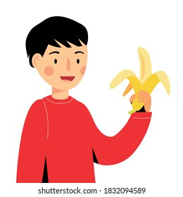 The boy is holding a banana. guy eating fruit