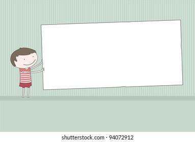 Boy Holding Blank Board
