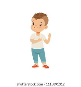 Boy holding hand on a heart honesty truth promise, boy character standing and gesturing, vector Illustration on a white background