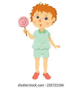 Boy holding a lollipop on a white background