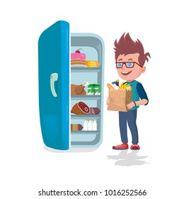 Boy holding the paper bags full of food in front of a refrigerator on white background
