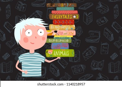 Boy Holding Pile of Books Cartoon. Childish library design with kid reading books. Vector illustration.