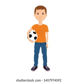 Boy is holding soccer ball. Cute baby with ball. Vector illustration in cartoon simple flat style.